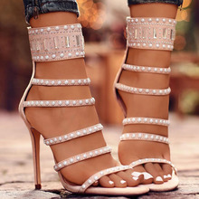 Sexy sandals summer straps ladies round toe thin sky high heel women party shoes with twinkling crystal  bar over size shoes