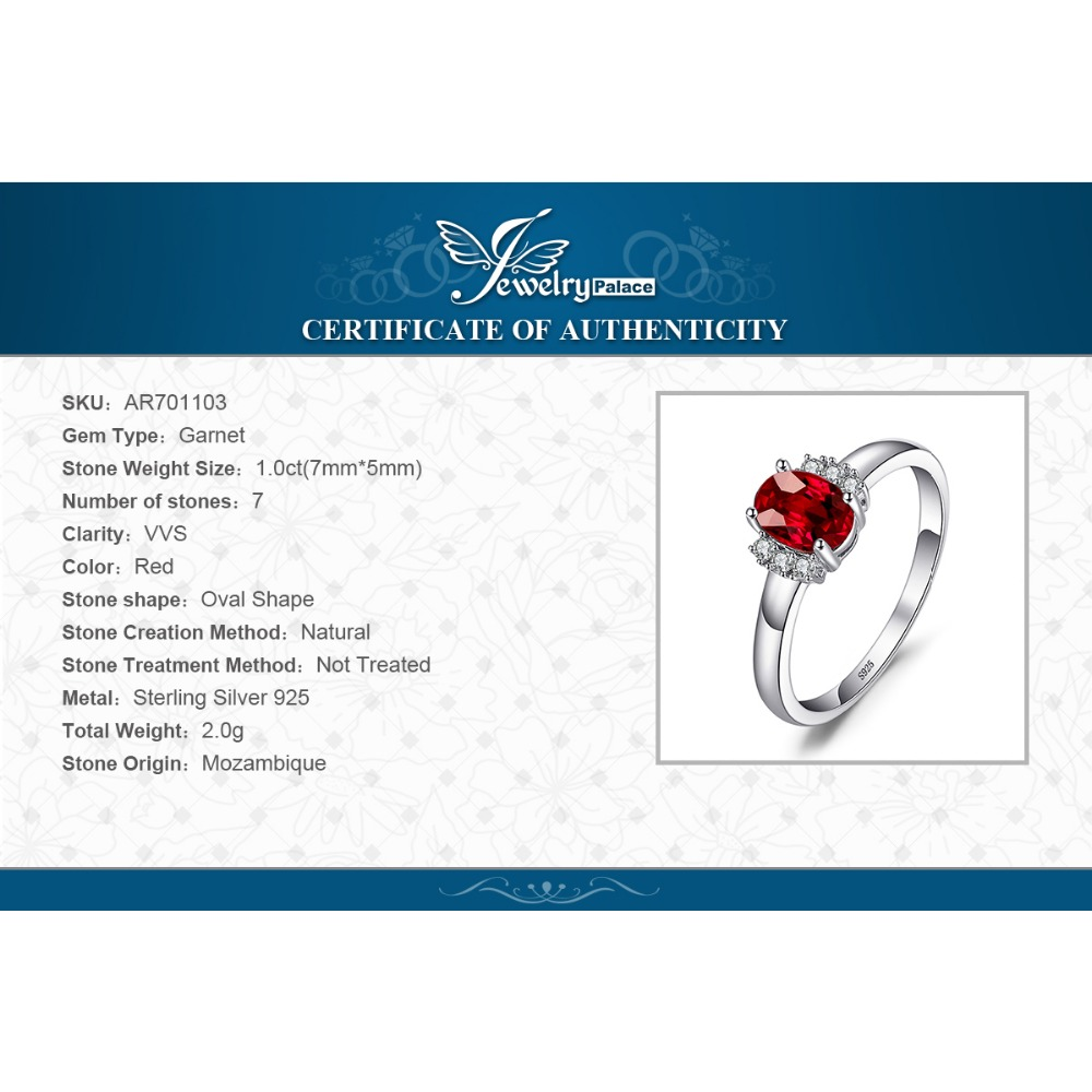 SmykkerPalace 1.1ct Oval Natural Red Garnet Ring 100% Ægte 925 - Smykker - Foto 6
