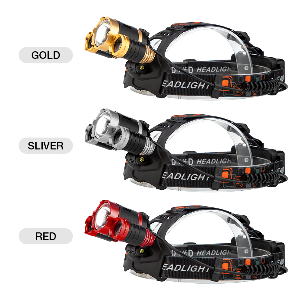 T6 LED Headlamp Zoomable Head Flashlight Torch Rechargeable Forehead Lamp DI
