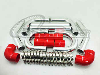 """2.5\"""" INCH 63mm UNIVERSAL 2MM THICKNESS ALUMINUM INTERCOOLER TURBO PIPE PIPING KIT"""