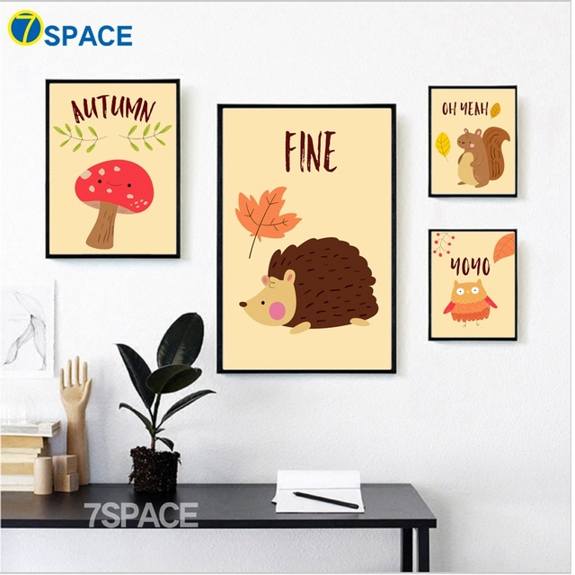 7 Space Nordic Poster Fall Forest Animals Squirrel Hedgehog Wall Art ...
