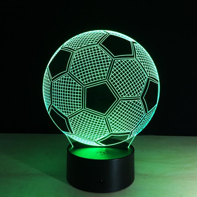 7 cores ilusão 3D fluorescente futebol luz Novidade noite lâmpada para presente de aniversário