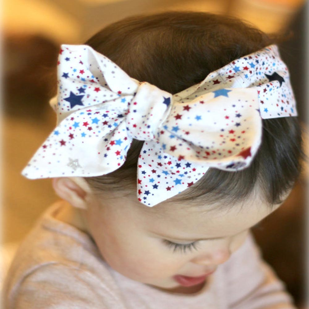 New Style Print Stars Knotted Headbands For Infant Toddler Baby Children Turban Bow Headwrap Hair Accessories new baby mickey headbands infant toddle shabby flowers headbands hair accessories photo props 1pc hb542