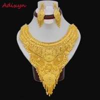 Gold Color Arab Ethiopian Jewelry Big Size Fashion Necklace Earrings Jewelry Sets For Women Girls Lucxury