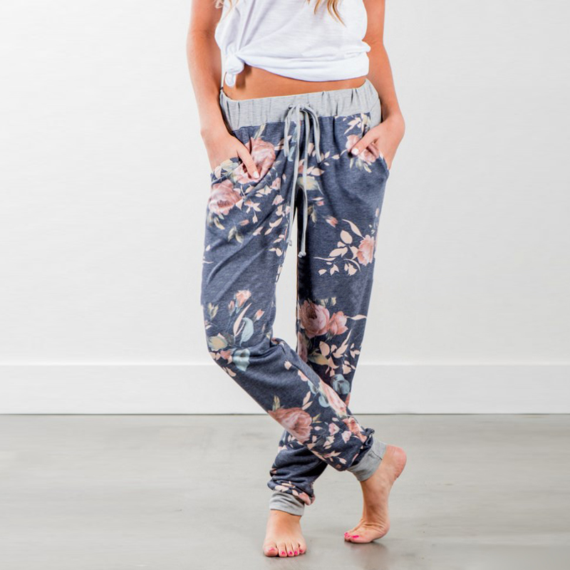 Summer Women Casual Loose Floral Printed lace-up Pants Exercise Pants