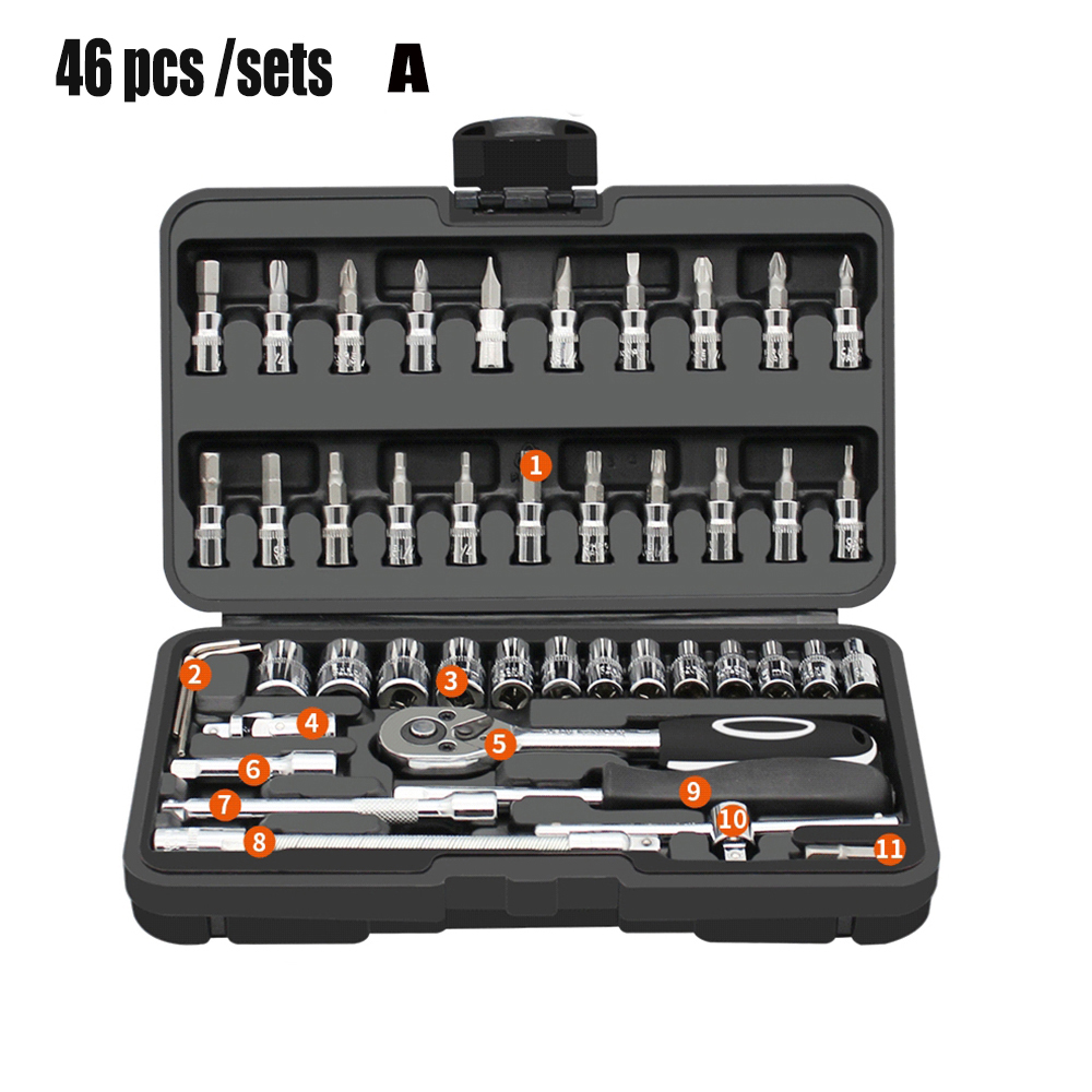 Image 3 - Automobile Motorcycle Car Repair Tool Box Precision Ratchet Wrench Set Sleeve Universal Joint Hardware Tool Kit For CarHand Tool Sets   -
