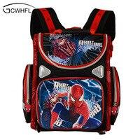 New 2015 Orthopedic Boys School Backpacks Waterproof Child Book Bag Spiderman Motorbike Girls School Bags Kids