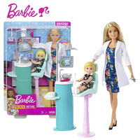 Barbie 2019 Authorize Dentist Doll & Playset Pretend Doctor Toy With Accessories Lovely Baby barbie Boneca FXP16 For Kid Gift