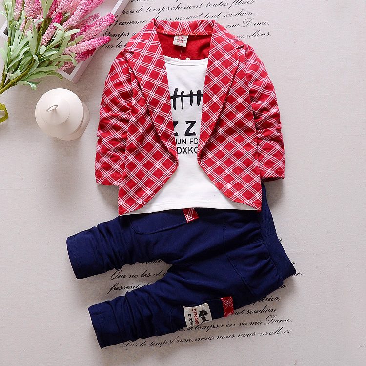 2018 new style toddler baby boy clothes boys kids wedding party suit set plaid fake two- ...
