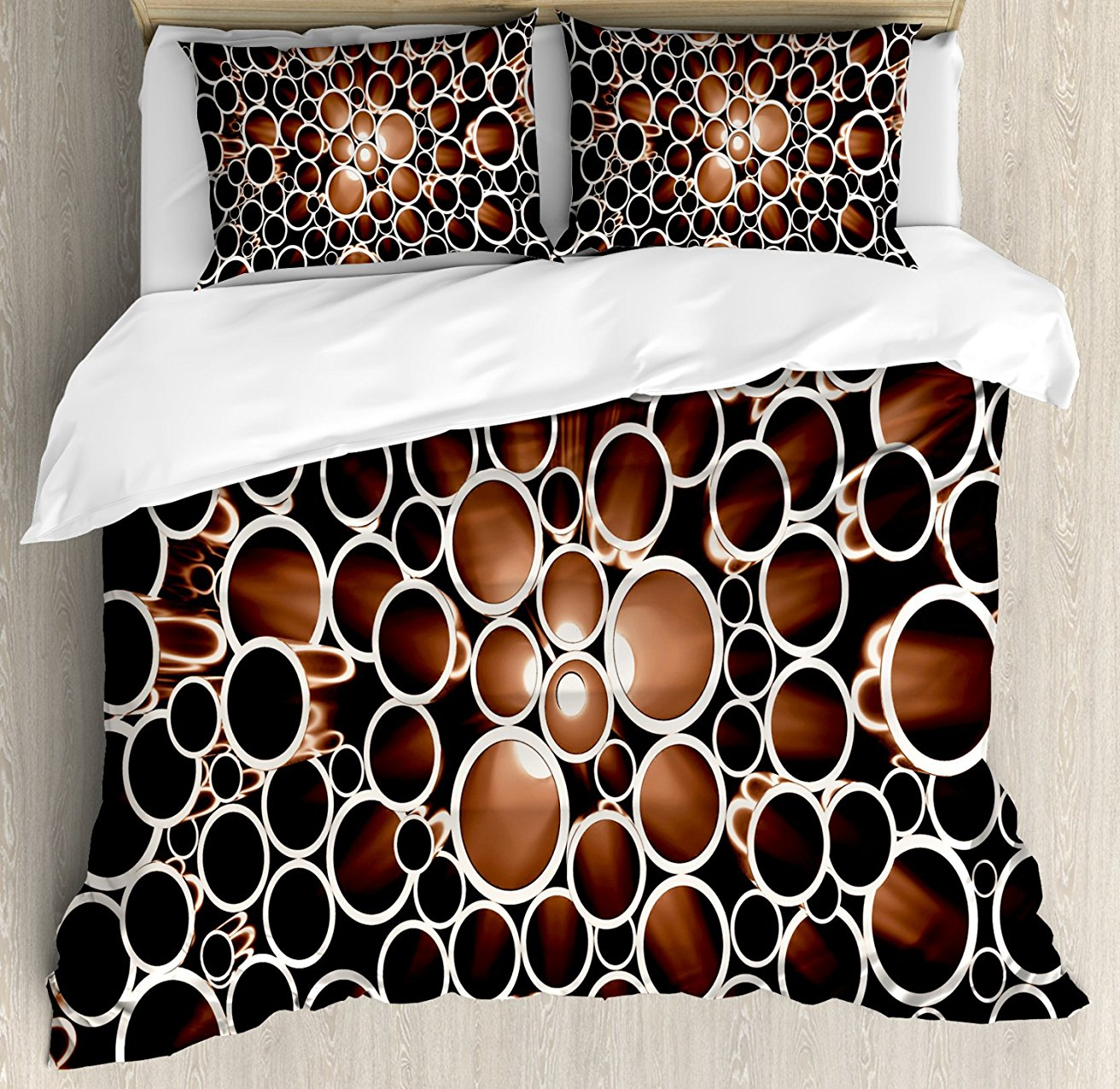 Industrial Duvet Cover Set , Round Pipes in 3D Style Construction Theme Modern Circles Print, 4 Piece Bedding Set