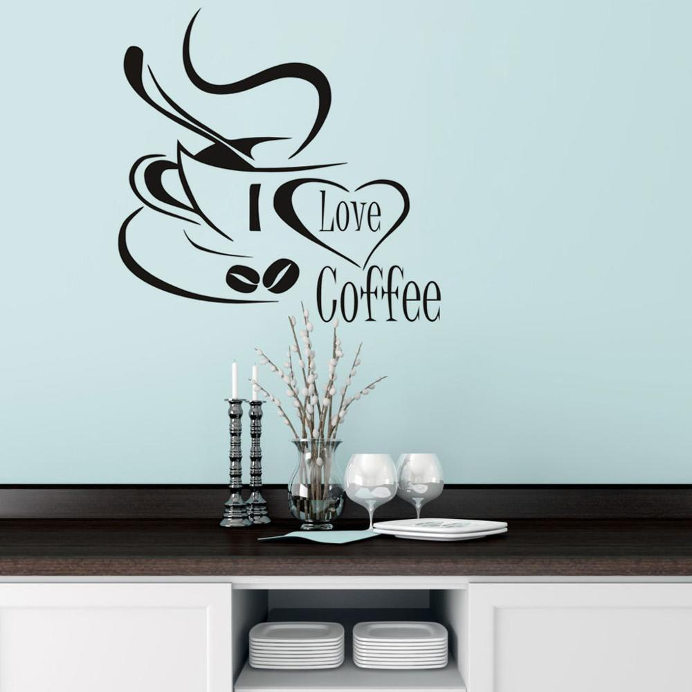 Kitchen Wallpaper Coffee: DCTOP Coffee Cup With Heart Black Vinyl Wall Stickers