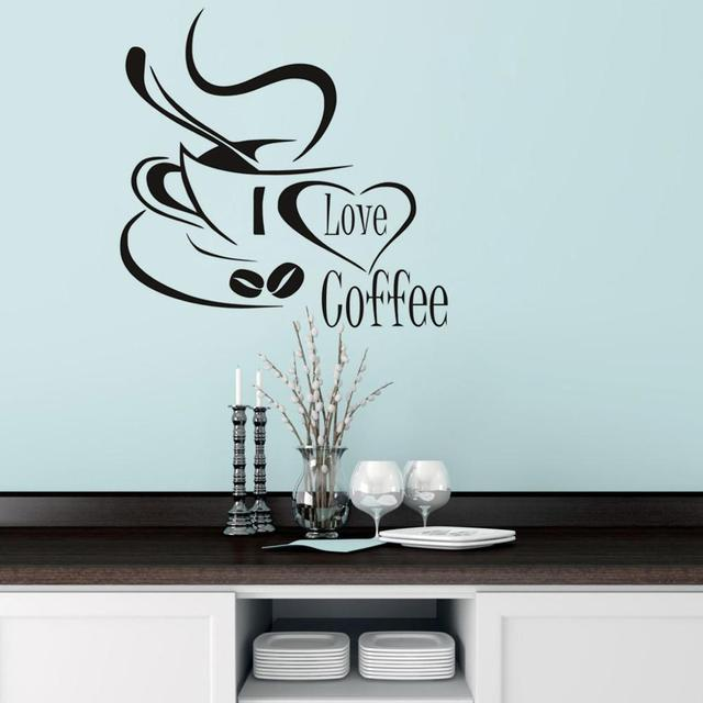 Dctop coffee cup with heart black vinyl wall stickers living room kitchen wall art decor home