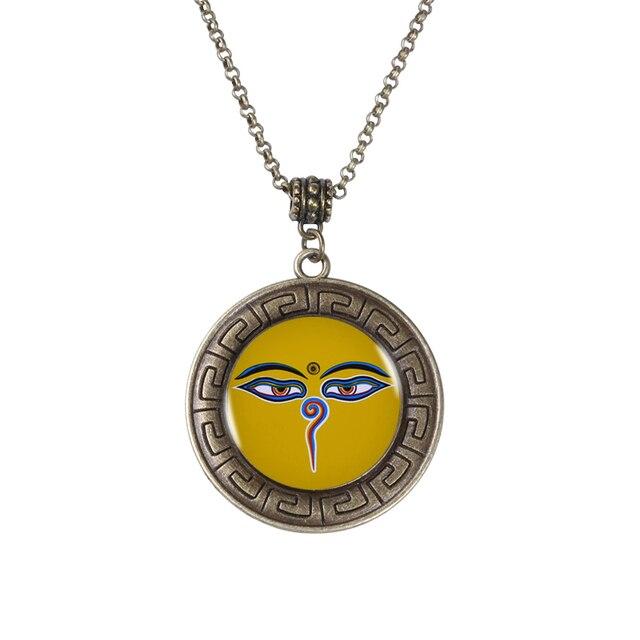 Buddha Eyes Art Bronze Pendant Necklace Wisdom Eyes Buddhist Charm