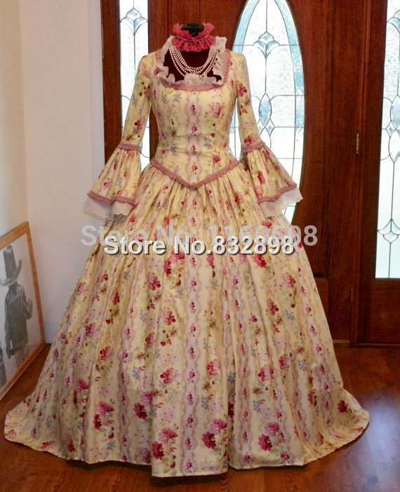 Marie Antoinette Colonial Period Waltz Halloween Masquerade Ball Tea Dress Gown Costume