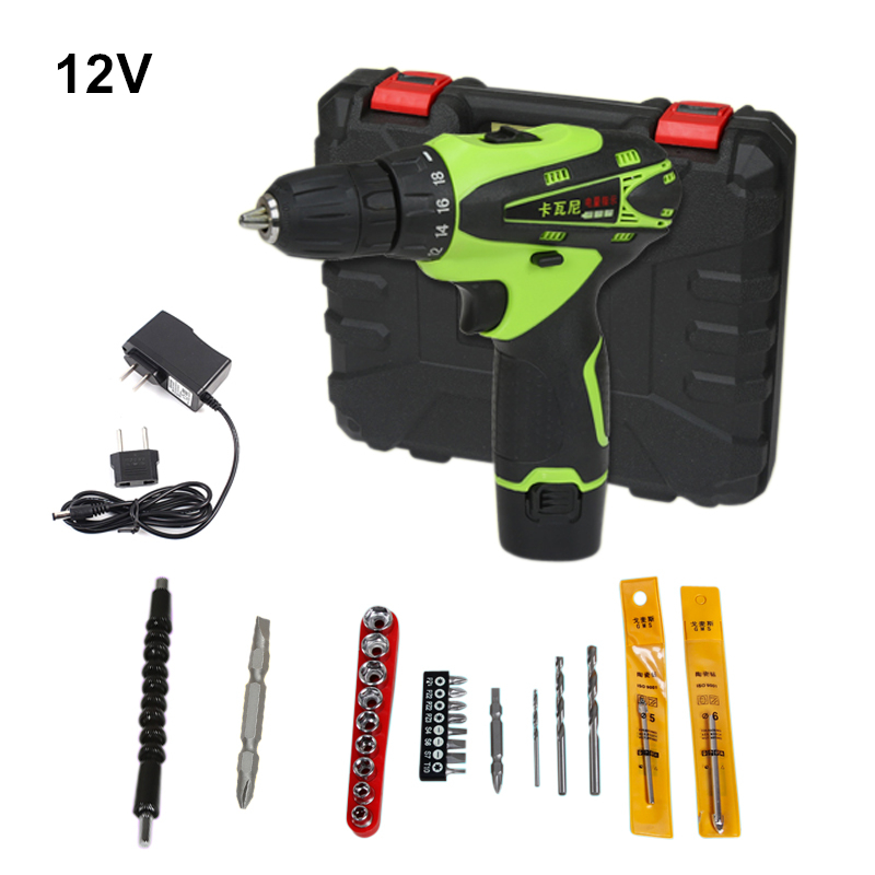 цены  12v Cordless Screwdriver Rechargeable Drill Mini Electric Drill One Lithium Battery Plus Parts Parafusadeira Furadeira Tools
