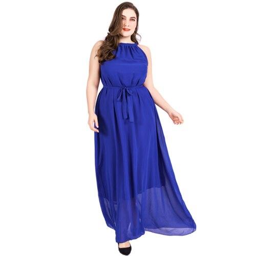 American Style Sleeveless Chiffon Long Women Dress Plus Size 6xl Ankle length Dress Women Beach Halter Dresses Womens