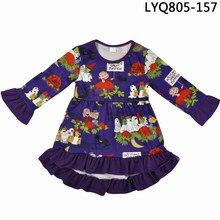 e24a15bae Venta al por mayor Halloween moda nueva manga larga niños calabaza patrón  algodón Bebé Ropa niñas Ruffle vestidos