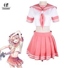 Rolecos fate apocrypha cosplay traje astolfo uniforme cosplay fgo escola rosa uniforme para menina fgo traje feminino
