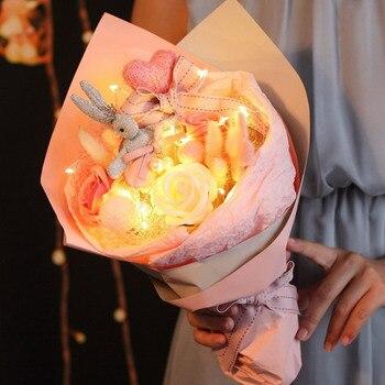1 букет Шелковый цветок свадебный букет роз георгины Искусственные цветы осень vivid поддельные Лист Свадебный цветок свадебный букет