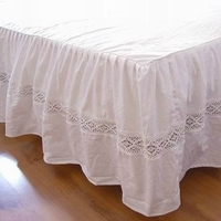 Ruffled lace high strength satin cotton bed skirt sheets bed cover white( 200cmx200cm+45cm)