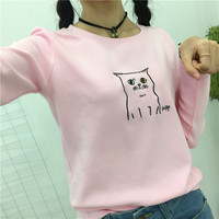 Women Harajuku Solid Shirts Female Kawaii Autumn Cartoon Cut Cat Letter Embroidery Slim Long Sleeve T
