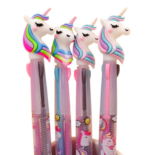 1pc/lot Kawaii Party Favors 3 in 1 Color Unicorn Ball Pen 0.5mm Roller Black Ink Writing gift