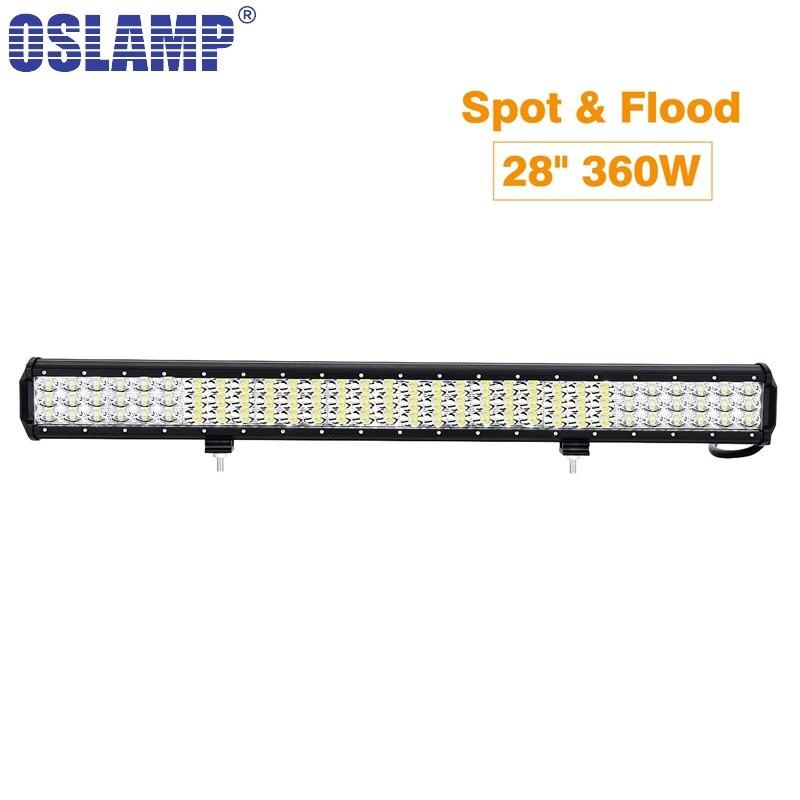 Oslamp свет работы 28 дюймов 260 Вт тройной ряд светодиодные бар комбо луча для бездорожья 12 В 24 В для 4 x 4 4WD внедорожник грузовик с прицепом РЗВ ATV светодиодные бар