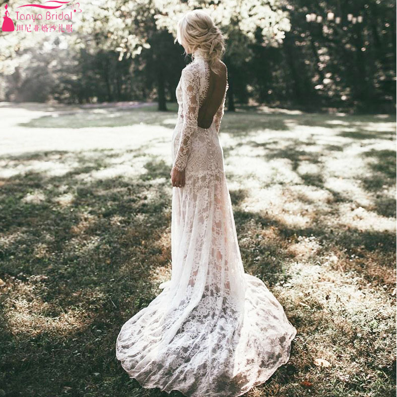 Fashion Outside Wedding Dress with High Neck Extended Sleeve Full Open Back Amazing Spring Summer Beach