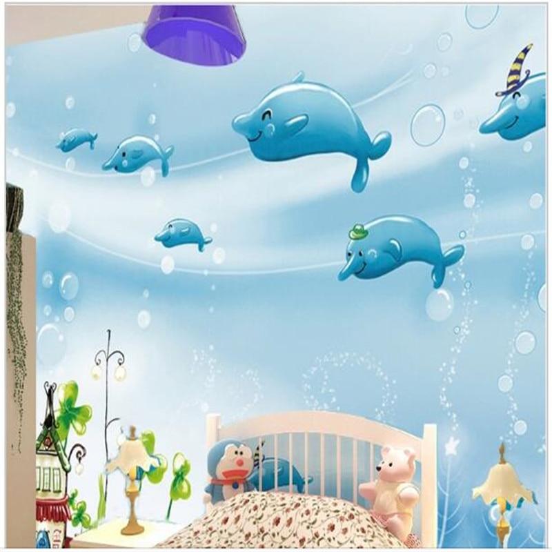 Kustom Mural 3D Kartun Anak Room Non Woven Background Wallpaper Dolphin  Biru Bawah Air Dunia Dari Anak Laki Laki Dan Perempuan Wallpaper wallpaper  Window wallpaper Removalwallpaper Table - AliExpress