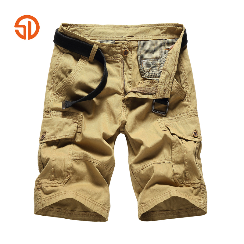 Summer Simple Classic Cargo Shorts Brand Clothing Men Shorts Cotton Multi-pocket Work Casual Short Pants Size 28-36 No Belt