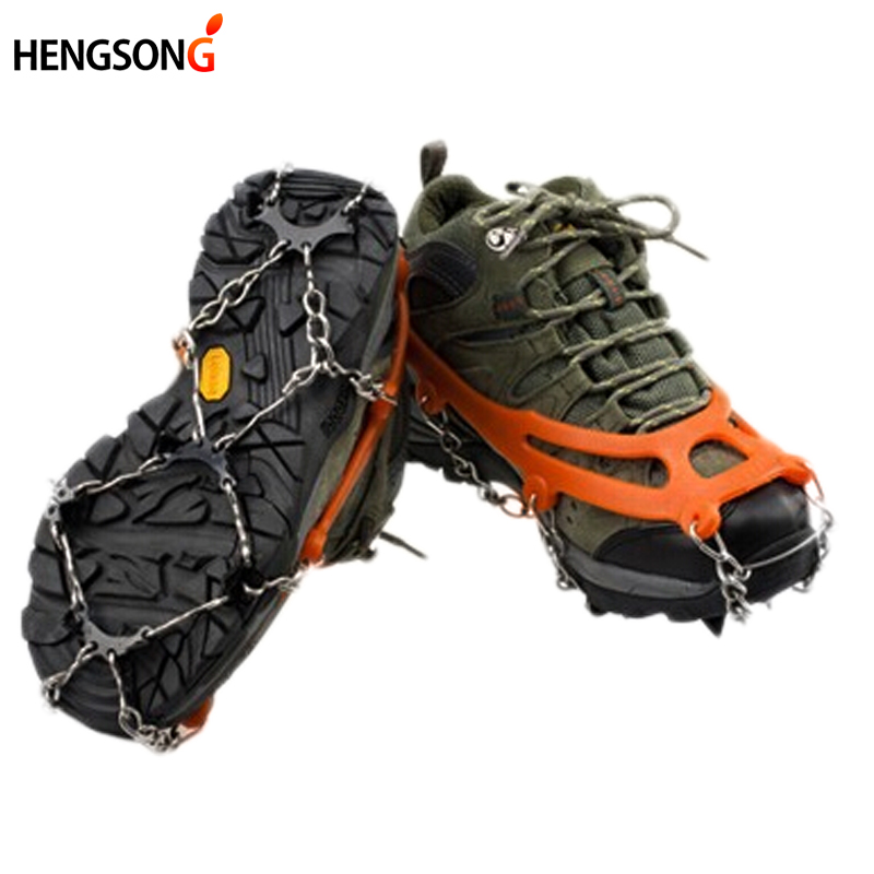New 1 Pairs Ice Gripper Outdoor Crampons Antiskid Shoe Covers Climbing Claw Snow Hiking Ski Shoes Nail Chain 8 Toothed CU871596