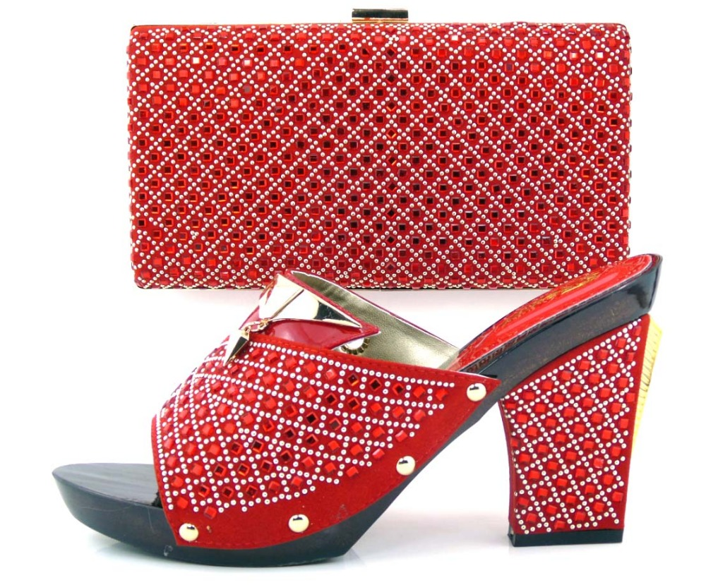 ФОТО African Women Shoes And Bag Set With Rhinestones Top Quality Italian Shoes With Matching Bags For Party Free Shipping ! Q1-26