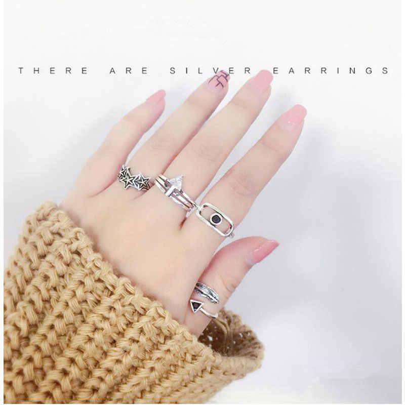 Anenjery Vintage Mode 925 Sterling Silber Fingle Schmuck Dreieck Klar Zirkon Multi-reihe Thai Silber Ring Für Frauen S-R94