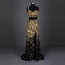 Real Sample High Slit Zwei Stück Abendkleid Schweres Wulstiges Gold Crystals Sparkly Lange Einbau Formale Abendkleid abendkleider