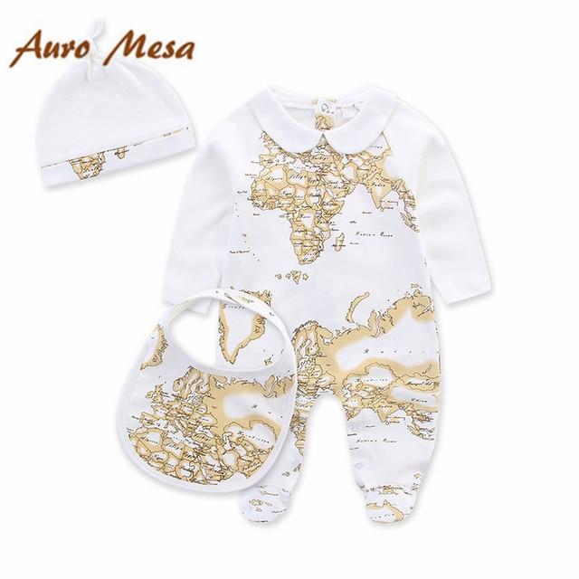 Мода детской ребенка установлен карта цельный + шляпу + нагрудник весной новорожденных Bebes одежда
