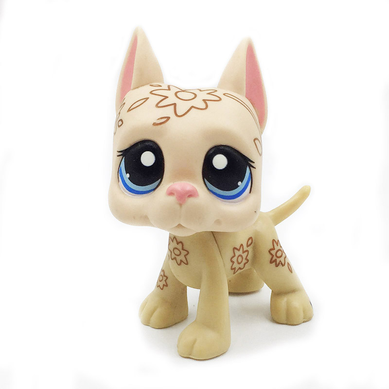 Pet Shop Toys Rare Original GREAT DANE Dog MINI Deco Dog Art Flowers Tattoo With Blue Eyes Christmas Gifts