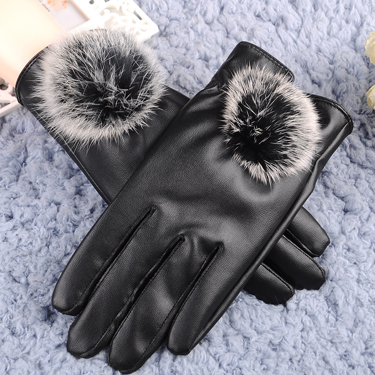 Autumn Winter Women Gloves Thicken Warm Thermal Mittens Gloves Outdoor Hiking Riding Cycling Skiing PU Leather Feamle Gloves
