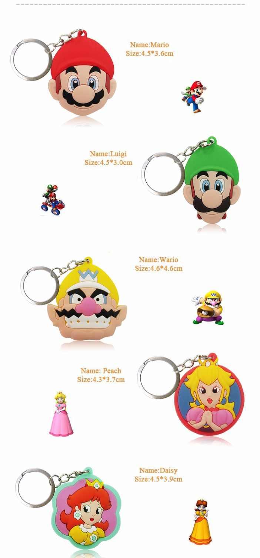 1PCS Mini Corrente Chave do PVC Dos Desenhos Animados Super Mario Bro Anime Figura Key Ring Crianças Brinquedo Pingente Chaveiro Chave Titular bijuterias moda