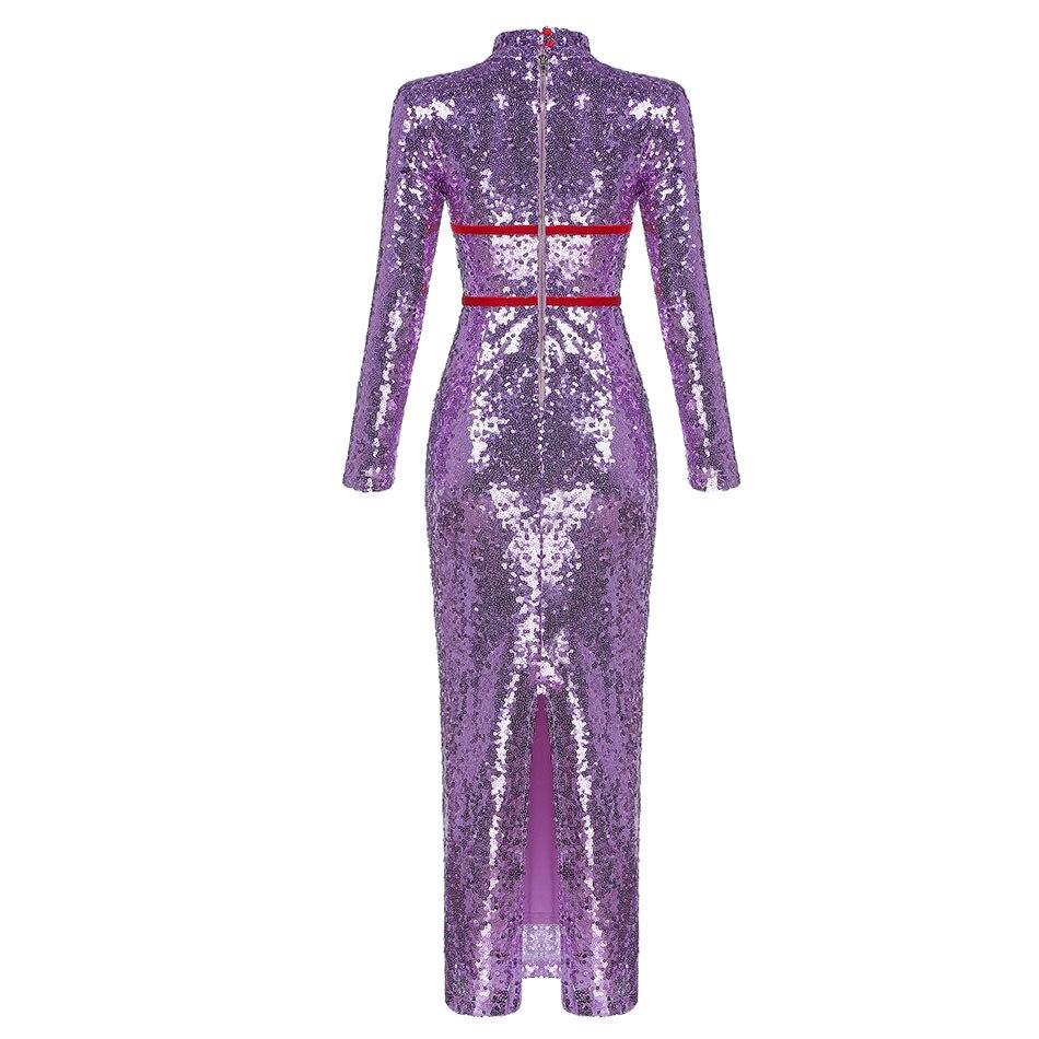 Luxe Robes Moulante Pour Violet Sequin Un Robe Femme Manches À Hiver Cou Sexy De Longues D'hiver Dressbird Clubwear Automne zqwZ85