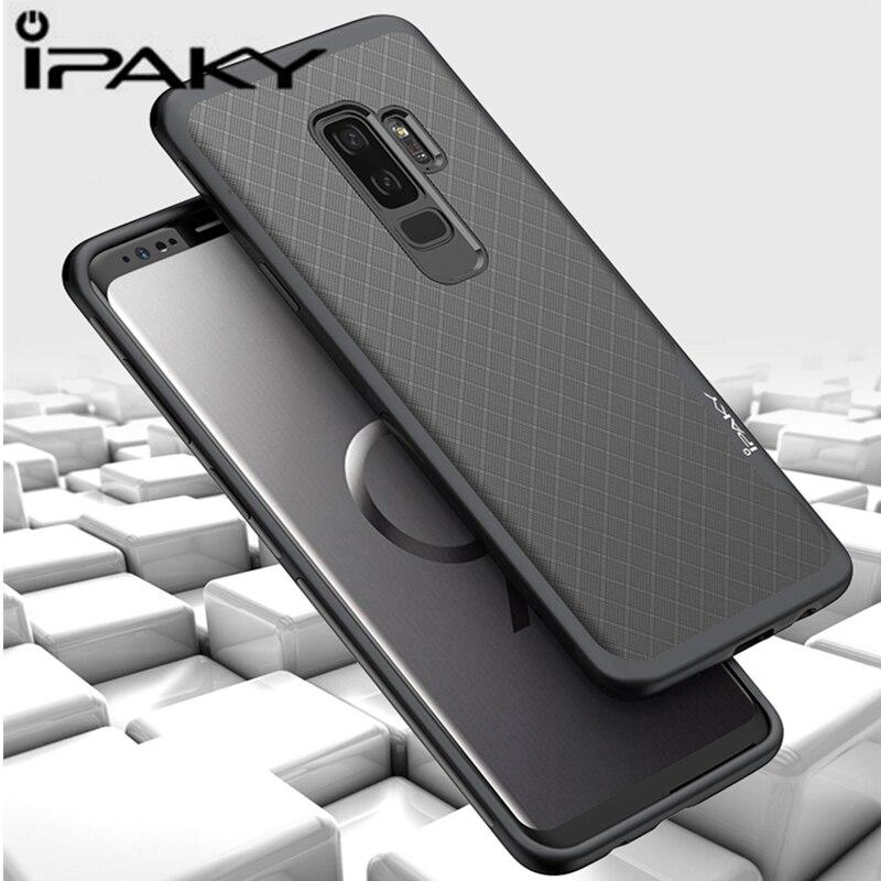 IPAKY Original For Samsung S9 Plus Case Hybrid Shockproof Hard PC Frame+Soft Silicone Back Phone Cases for Samsung S9 Plus Cover