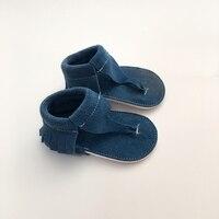 Handmade Black First Walkers Genuine Leather Infant Sandal