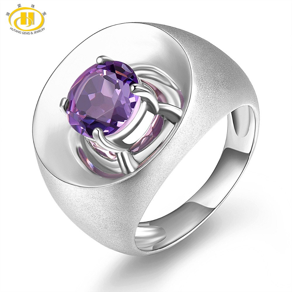 Hutang Stone 1 8Ct Natural Amethyst Gemstones Solid 925 Sterling Silver Ring Fine Jewelry Women Men