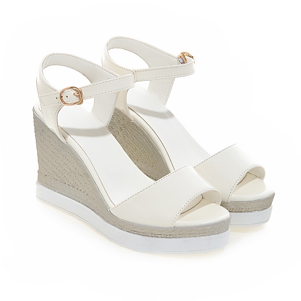 Comfortable High Heel Platform Women Sandals Wedges Shoes Peep Toes Pu Leather Ankle Strap Summer Style Sandals Shoes DZ86054 2017 women casual wedges sandals shoes summer gladiator platform style sandal cross strap peep toe high heel shoes smybk 054