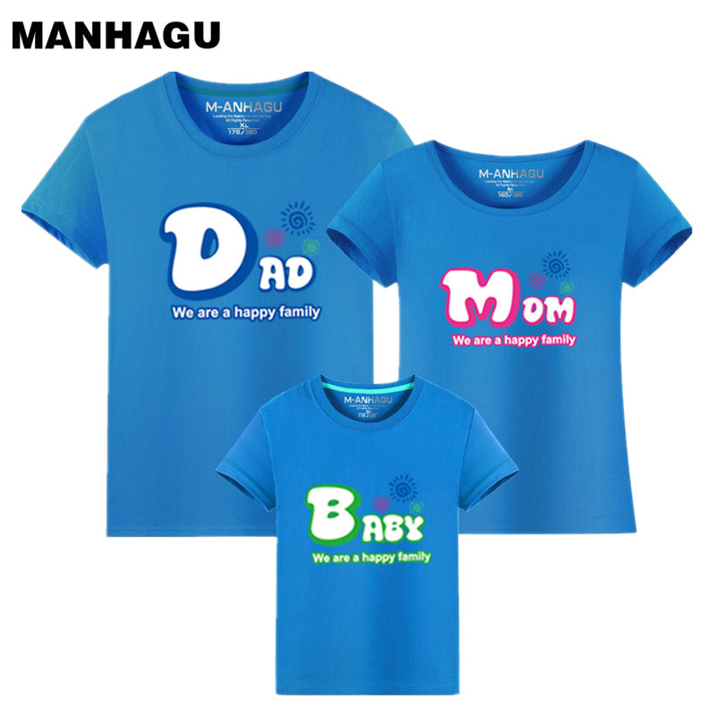 MAHAGU Brand 1 Pieces Family Look T Shirts Summer Cartoon Printing Family Matching Clothes
