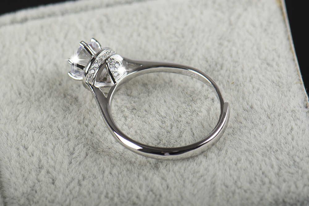 2016 ใหม่มาถึงแฟชั่นปรับแหวน 5A Cubic Zirconia จริง 925 Soild แหวนเงินหญิงหมั้นและงานแต่งงาน