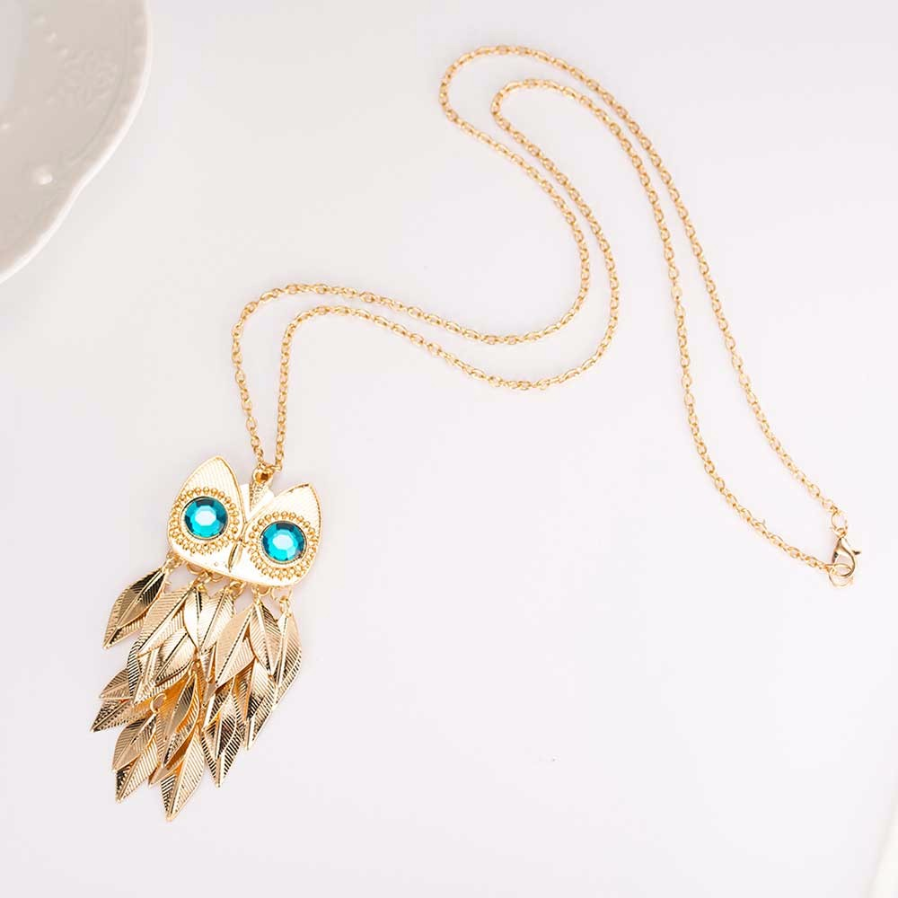 Gold Leaves Owl Charm Long Chain Necklace