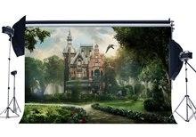 おとぎ話城背景グルーミー宮殿背景ジャングルの森の countyard グリーン草草原ファンタジー背景
