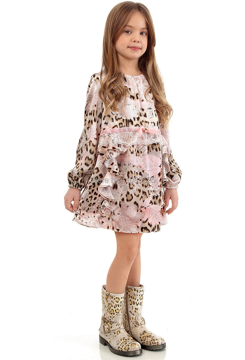 Full Sleeve Girls Dress Silk Chiffon Brand Kids Dresses with Leopard Print Lace 2018 New Arrival Spring Summer Christmas Dress 2018 summer new arrival girls pleated chiffon one piece dress with paillette collar children colthes for kids baby pink green