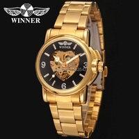 Elegancki Złoty Kolor Bransoletka Alloy Case Black Dial luksusowe automatyczny zegarek dla dziewczyny prezent stylowe relojes de mujer/WRL8011M4G2
