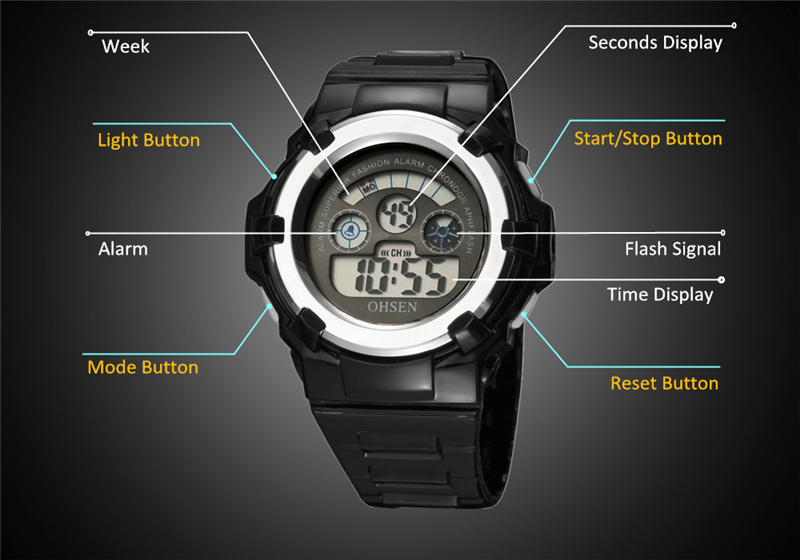 OHSEN Kids Watches Children Digital LED Fashion Sport Watch Cute Boys Girls Wrist watch Waterproof Gift Watch Alarm Kids Clock (30)